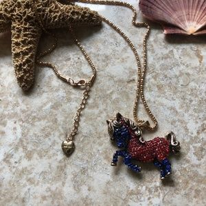 [NWOT] Betsey Johnson Red & Blue Pony Necklace
